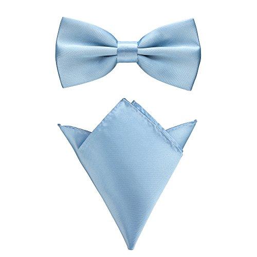 Rusty Bob - Fliege mit Einstecktuch in verschiedenen Farben (bis 48 cm Halsumfang) - zur Konfirmation, zum Anzug, zum Smoking - im 2er-Set (Hellblau)