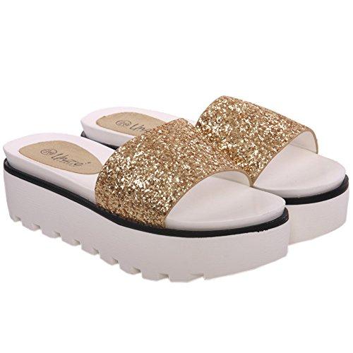 Unze Femmes Debora ' Glittery Wedge Chaussons Or