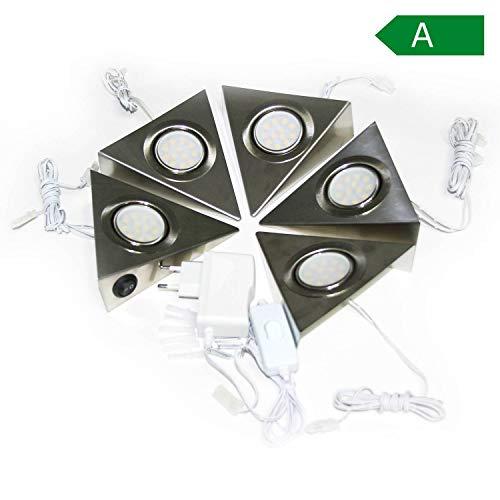 5er SET LED Unterbauleuchten mit Schalter für Küche Schrank 4000K (neutralweiß) - Dreieck-Design aus Edelstahl - Küchenleuchte Küchenlampe Schrankleuchte Dreieckleuchte