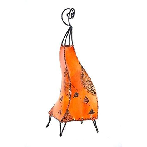 Leder-wohnzimmer-tisch (Orientalische Lampe Stehlampe marokkanische Hennalampe Lederlampe Tischleuchte Stehleuchte Orient Marrakesch Ranke 60 cm Color Orange)