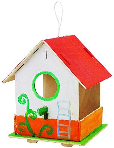 ROBOTIME 3D Hölzernes Puzzle - Vogelhaus Mit Malerei Werkzeuge Kind Pädagogisches Woodcraft Puzzlespiel-Spielzeug DIY Installationssatz (Bird House 1)