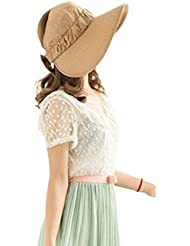 Autek Fashion Damenhut Beach Sun Visor Foldable Roll up Wide Brim Strohhut Kappe hat Cap Sonnehut 645