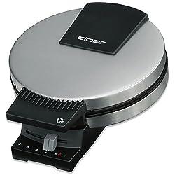 Cloer 189 Waffelautomat für kuchenartige Waffeln / 930 W / Backfläche mit 20 cm Durchmesser / schwere Backplatten / optische und akustische Fertigmeldung / mattiertes Edelstahlgehäuse