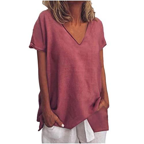 LOPILY Basic Oberteil Damen Lose Einfarbiges Kurzarm Tops V-Ausschnitt Freizeit T-Shirts Lässiges Tunika Wasserfall Saum Casual Urlaub Oberteil French Style (Rot, EU-44/CN-2XL)