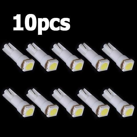 Sonline 10x Ampoule T5 Led Smd Blanc Pour Compteur Tableau De Bord Dc12v Lampe Tuning Lumiere Voiture