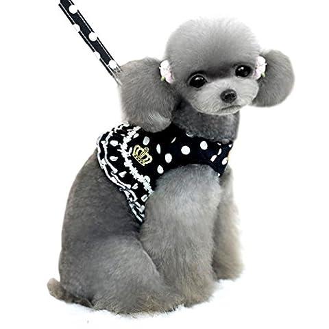 smalllee _ Lucky _ store Kleiner Hund Katze Sweet Dots Muster Weste Geschirr Leine Set Mesh Gepolsterte Leine