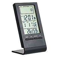 مقياس حرارة رقمي صغير من فيستنايت للرطوبة في الأماكن المغلقة في الغرفة درجة حرارة درجة مئوية / درجة فهرنهايت، قياس جهاز منبه لقياس الحرارة ومقياس الحرارة ومقياس الحرارة مع أقصى عرض قيمة, اسود