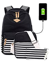Vezela® Casual Lightweight Canvas Casual Striped Backpack With USB Charging Feature - Set Of 3 - Casual Bag In...