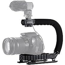 Andoer–Forma de U/C Acción de mano con mango de flash Bracket Soporte Estabilizador para Canon, Nikon, Sony GoPro SJCAM Xiaomi Yi Cámara Videocámara Mini DV DSLR SLR