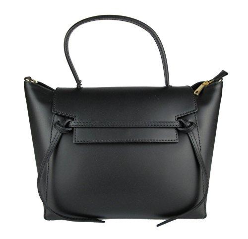 Sac femme en cuir élégant made in italy ceinture ispired noir