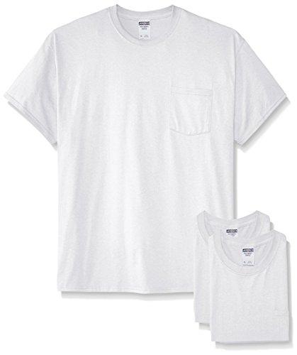 Jerzees Herren T-Shirt, kurzärmlig, Taschenformat, 3er-Pack - Weiß - Groß