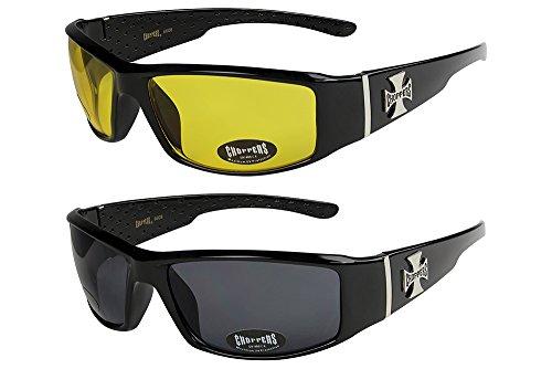 X-CRUZE 2er Pack Choppers 6608 X03 Sonnenbrillen Unisex Herren Damen Männer Frauen Brille - 1x Modell 12 (schwarz glänzend/gelb getönt) und 1x Modell 01 (schwarz glänzend/schwarz getönt)