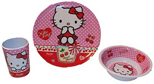Hello Kitty Kinderservice mit Teller, Müslischüssel und Trinkbecher aus Melamin (Kitty Hello Snacks)