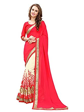 Panchratna Women's Embroidered Red Half And Half Georgette Saree With Blouse Material