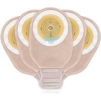 OUCHAN Pochettes d'évacuation facile à vider avec carte de mesure Collier de serrage pour colostomie iléostomie soins de stomie Coupe adaptée Approuvé par la FDA (Velcro Closure,20PCS/Bag)