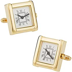 Working Gold Watch Cuff Links with Presentation Box