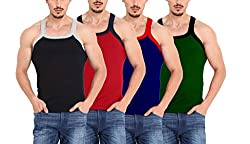 ZIMFIT Gym Vest - Pack of 4 ZMV111_Assorted_80_Multicolored_Small)