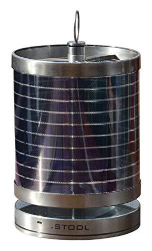 Nachhaltige Tischleuchte +Solarschirm, Edelstahl gebürstet von .STOOL | Hochwertige Lampe mit Power-LED | Garten, Balkon, Terrasse, Camping | Indoor und Outdoor |
