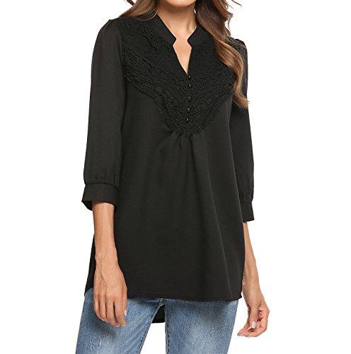 Meaneor Damen Hemd Bluse Chiffon 3/4 Ärmel Basic Tops V Ausschnitt Hemdbluse Freizeithemd Shirt mit Spitze Oberteile loose fit Schwarz Weiß Schwarz