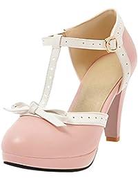 UH Damen T-Spange Plateau Pumps Blockabsatz High Heels Sandalen mit  Schleife Rockabilly Vintage Schuhe 6091c7c2fb