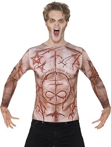 Herren Erwachsene Fancy Halloween Party Zombie Horror Scary Tee verstümmelt Haut T-Shirt, Beige