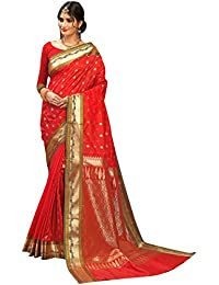 Craftsvilla Women's Silk Traditional Buti With Zari Border Work Red Saree With Blouse Piece