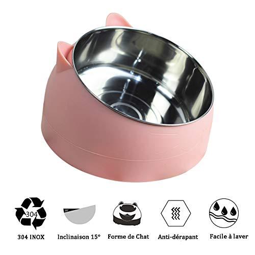 D.stil ciotola per cibo gatto cani in acciaio inossidabile con gomma antiscivolo base pet acqua ciotola gatto per inclinazione di 15 gradi(rosa, 1l)