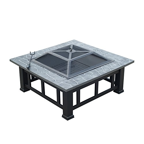 Outsunny Outdoor Garden Metal Firepit Fire Pit Brazier Square Table Patio Heater Stove with Waterproof Cover