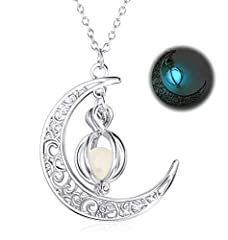 Idea Regalo - BESTEEL Halloween Collana Luminosa per Donne Ragazze Luna Crescente Moon Regalo Gioielli di Moda