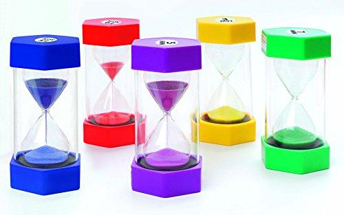 FLIXI Maxi SANDUHREN 5er Set mit unterschiedlichen Laufzeiten - 1, 3, 5, 10, 15 min - Sanduhr für Kinder - bruchsicher,bunt -