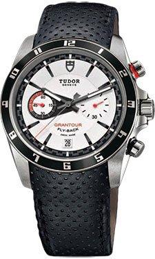 Tudor Grantour weiß Zifferblatt schwarz Leder Herren Armbanduhr 20550N-wmcpl