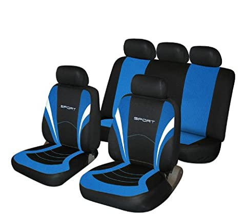 Blue and Black Sports Style Car Seat Covers