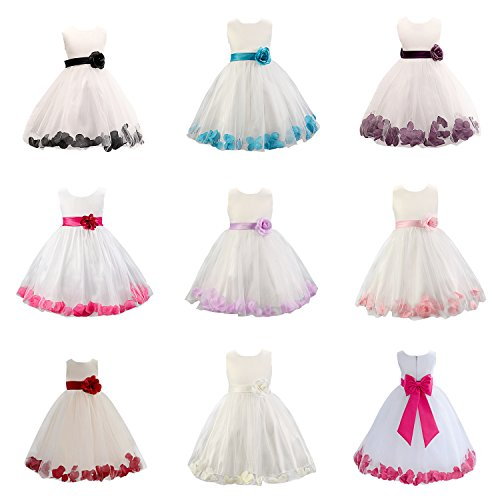 Live It Style It Girls 1 Rose Tulle Dress Flower Petals Princess Sleeveless Formal Party Wedding Bridesmaid