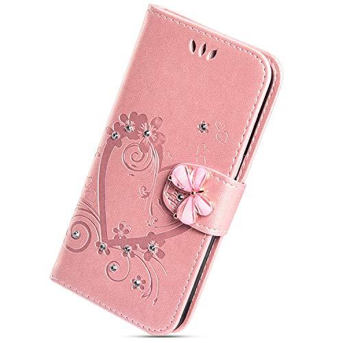 Herbests Kompatibel mit Huawei P20 Lite Hülle Flip Brieftasche Leder Handyhülle Bling Glitzer Strass Diamant Liebe Herz Schmetterling Blumen Muster Tasche Case Schutzhülle,Rose Gold
