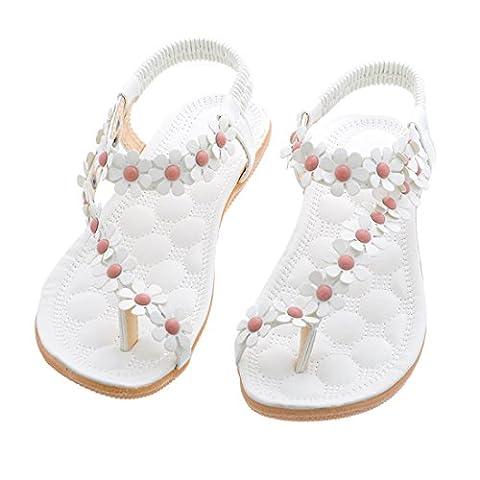 Encounter Damen Sommer Schuhe Strandschuhe Offene T-Spangen Sandalen Knöchelriemchen Sandalen Pantoletten mit Blumen (39, Weiß)