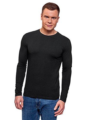 oodji Ultra Herren Tagless Langarmshirt Aus Baumwolle, Schwarz, DE 50/M