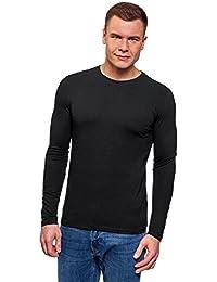 oodji Ultra Hombre Camiseta Sin Etiqueta con Mangas Largas de Algodón
