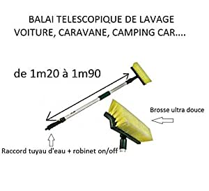 balai brosse de lavage t l scopique pour camping car caravane voiture raccord d eau on off. Black Bedroom Furniture Sets. Home Design Ideas