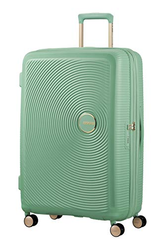 American Tourister Soundbox - Spinner Large Expandable Koffer, 77 cm, 110 Liter, Almond Green/Gold