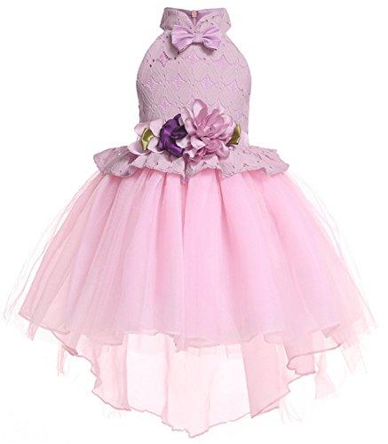 Rosa Erwachsene Für Smoking Und Kostüm - AOGD Mädchen Kleider Prinzessin Kleid Blumen Kleid Spitzenkleid Blumenmädchen Kleid Rock Fliege Kleid Kleid Smoking