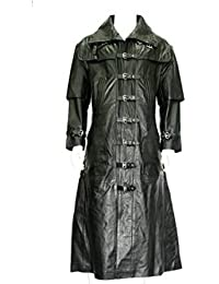 hombre de cuerpo entero negro Capitán capa suave gótico chaqueta de cuero real