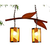 FWEF tinta legno tirare linea lampada caduta europeo stile giardino salotto lampada camera da letto camera da letto calda Bamboo Lampadario in vetro antico bambù lampada applicabile spazio 5-10 metri quadri (13 * 60 * 84cm) adjusta - Caduta Pendenti Una Luce