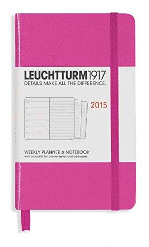 Leuchtturm1917 345349 Wochenkalender und Notizbuch Pocket (A6) 2015 mit Extraheft für Adressen und Jahrestage, Englisch, pink