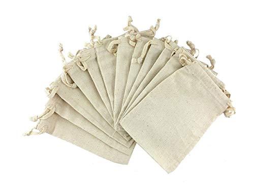 BD WEAVES Organic Cotton Linen Reusable Biodegradable Eco-Friendly Grocery/Sachet Bags (Multicolour, Large, 10x12) - Pack of 12