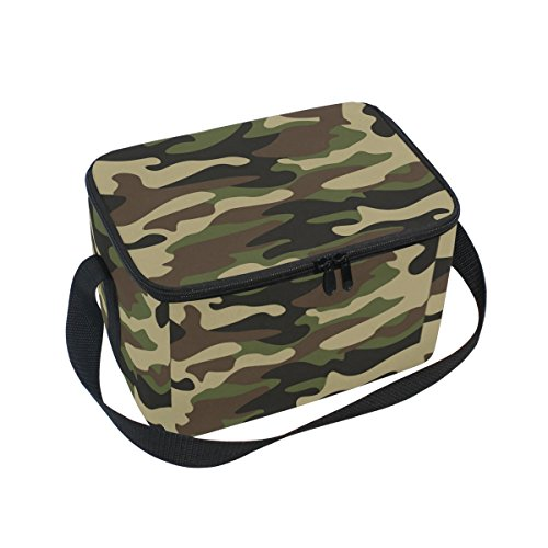 Isolierte Camo Lunch-box (doshine Abstraktes Camouflage Muster Isolierte Lunch Box Tasche, Kühler Ice Lunch Tasche Wiederverwendbar für Männer Frauen Erwachsene Kinder Jungen Mädchen)
