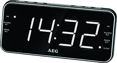 AEG MRC 4157Reloj Radio USB de conector, AUX-IN, conexión de auriculares, pantalla regulable, 40Station Memoria, posibilidad de montaje en pared Negro
