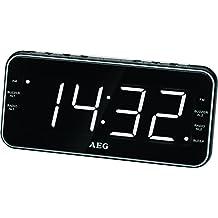 AEG MRC 4157 Reloj Radio USB de conector, AUX-IN, conexión de auriculares, pantalla regulable, 40 Station Memoria, posibilidad de montaje en pared Negro