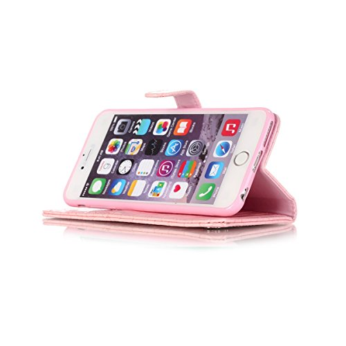 iPhone 6S Plus Coque, iPhone 6 Plus Coque, Lifeturt [ Blanc ] [book-style] Flip Case Coque en PU Cuir Housse de Protection Étui à rabat Case Cover Ultra Slim Portefeuille PU Cuir avec stand de Carte S E02-Rose4572