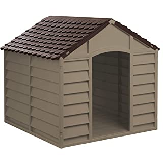 Hundehütte Hunde-Hütte Hundehaus aus Kunststoff mocca braun