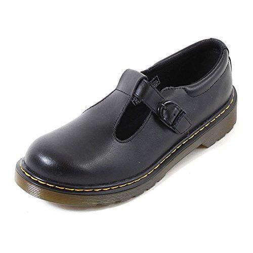 Dr. Martens Youth Polley T Lamper Leather Buckle Shoe Black-Black-5 (Older) Size 5 (Older)